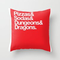 dungeons and dragons Throw Pillows featuring Dungeons & Dragons & Swag by Tuff Industries