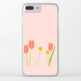 Pale Pink Light Orange Spring Flowers Clear iPhone Case