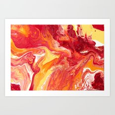 Fire | Red, Orange,Yellow, Gold, and White Fluid Acrylic Abstract Painting Art Print