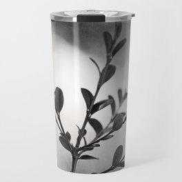 Black and White Nature Botanical Photography, Dark Grey Tree Branch, Neutral Gray Branches Travel Mug