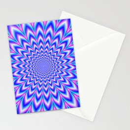 Psychedelic Pulse in Blue and Pink Stationery Cards