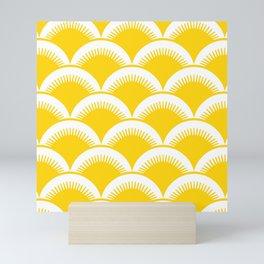 Japanese Fan Pattern Yellow Mini Art Print