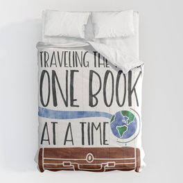 Traveling the World One Book at a Time V2 (Colour) Comforters
