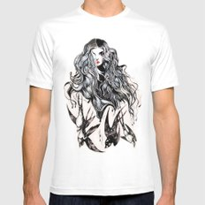 Woman & birds MEDIUM Mens Fitted Tee White