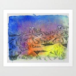 rainbow mountain watercolor Art Print