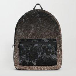 Glitter ombre - black marble & rose gold glitter Backpack