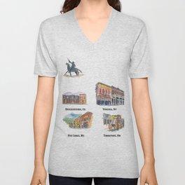 USA Wild West Towns Main Streets - Telluride, Breckenridge, Aspen & Co. Unisex V-Neck