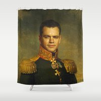 replaceface Shower Curtains featuring Matt Damon - replaceface by replaceface