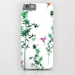Hummingbird,tropical,bamboo,Japanese style decor.Green iPhone Case