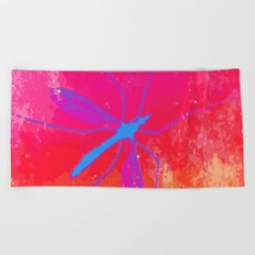 blue insect Beach Towel