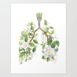 Floral Lungs Anatomy with Flowers, Breathing Gardenia Art Print