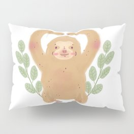 Cute Sloth with leaves illustration Pillow Sham