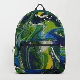 Deep Forest Green Yellow and Blue Acrylic Painting Backpack