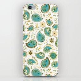 Hedgehog Paisley_Teal BgWhite iPhone Skin