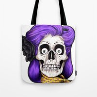 rockabilly Tote Bags featuring Rockabilly Skull by Mark Matlock