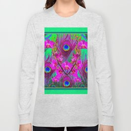 Green & Fuchsia Peacock Feathers Pink Orchid Patterns Art Long Sleeve T-shirt