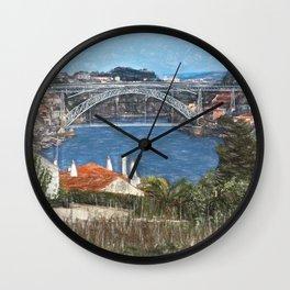Louís1 Bridge Porto as  Digital Art Wall Clock