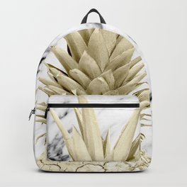 Gold Pineapple on Marble Backpack