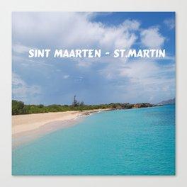Tropical sandy beach of Sint Maarten - St. Martin Canvas Print