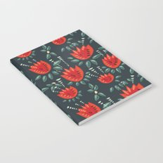 Abstract Red Tulip Floral Pattern Notebook