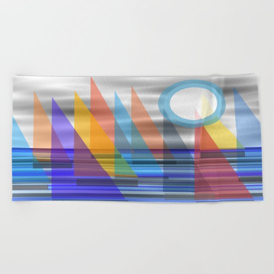 Geometric Sailing Beach Towel