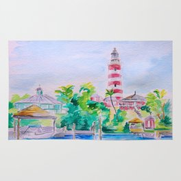 Elbow Reef Lighthouse Hope Town, Abaco, Bahamas Watercolor painting Rug