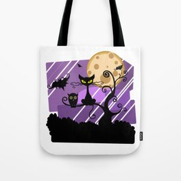 Scary Witch Cat Tote Bag