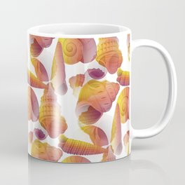 Ancient Seashells Illustration in Red Natural Colors Coffee Mug