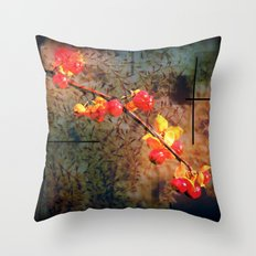 Fields Of Red Berries In The Evening Throw Pillow
