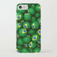 brazil iPhone & iPod Cases featuring BRAZIL FOOTBALLS by AMULET