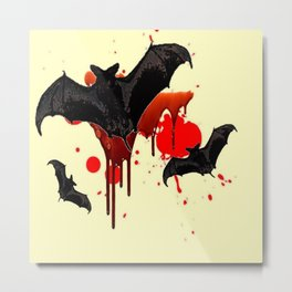 DECORATIVE FLYING BLACK BATS & HALLOWEEN BLOODY ART Metal Print