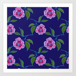 Peony Floral Floating Pattern Art Print