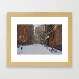 Snowy street Greenwich Village NYC Framed Art Print