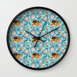 Ghibli pattern 01 (baby blue) Wall Clock
