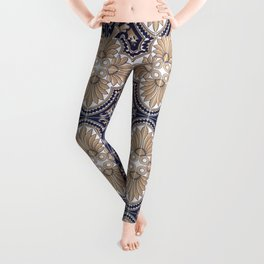 Portuguese Tiles Azulejos Blue and Brown Pattern Leggings