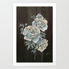 Peony Wood Art Print