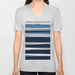 Striped Modern Beach Landscape Blue Grey Unisex V-Neck