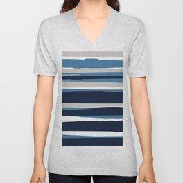 Ocean Beach Striped Landscape, Navy, Blue, Gray Unisex V-Neck
