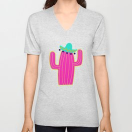 Saguaro Cactus - Pink Unisex V-Neck