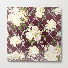 Country chic burgundy white quatrefoil watercolor floral Metal Print