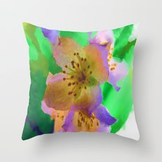 Purple Flowers - Watercolour Painting Throw Pillow
