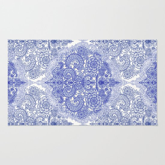 Happy Place Doodle in Cornflower Blue, White & Grey Rug