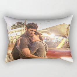 The Lovers | Timeless Night Scene Couple Embrace Romantic Hug Bright City Lights Long Exposure Rectangular Pillow