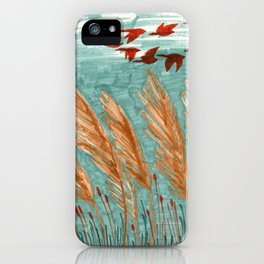 Geese Flying over Pampas Grass iPhone Case