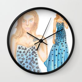 Karlie in Strapless Blue Mermaid Gown Wall Clock