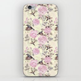Vintage & Shabby Chic - Lush pastel roses and hummingbird pattern iPhone Skin