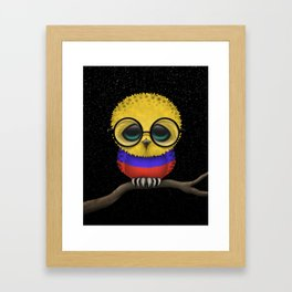 Baby Owl with Glasses and Colombian Flag Framed Art Print