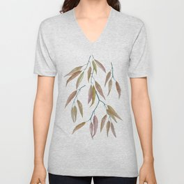 Eucalyptus leaves in autumn colors on plum violet Unisex V-Neck