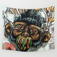 ape Wall Tapestries featuring Ape Shrunkhead by Reboot