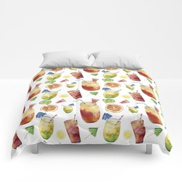 Tropical fruit and cocktail. Watercolor Comforters